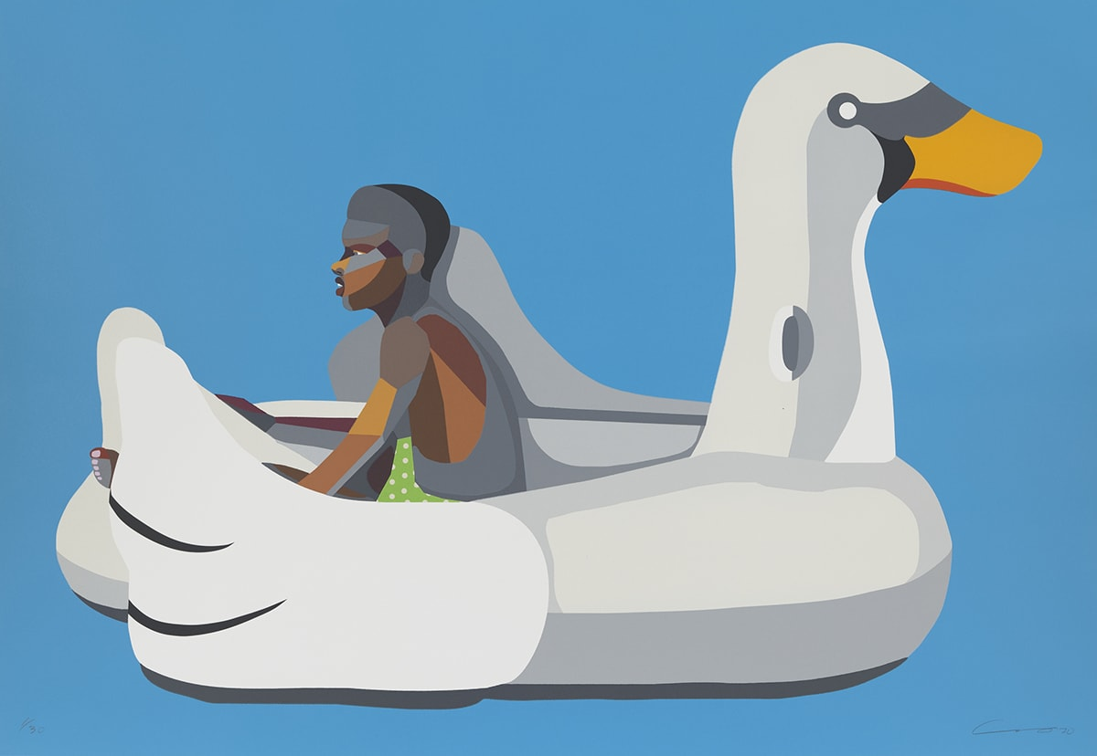 Boy on Swan Float, Derrick Adams, 31 x 45 inches, woodblock and screen print with fabric collage on Rives BFK paper. A young boy with brown skin and black hair sits in a large inflatable swan against a blue background, seen from the side. The large swan is shown in whites and gray, each tone a separate shape placed to depict the inflatable's contours. The swan has a black mask around the eyes and the bright, orange beak. The boy sits between the swan's wings facing left. He is depicted in the same manner as the swan with brown, tan, and grey shapes making up his figure. A triangle of bright green and white polka dots suggests the boy's swimsuit. His toes peep out from the end of the float at left. The background is a flat sky blue.