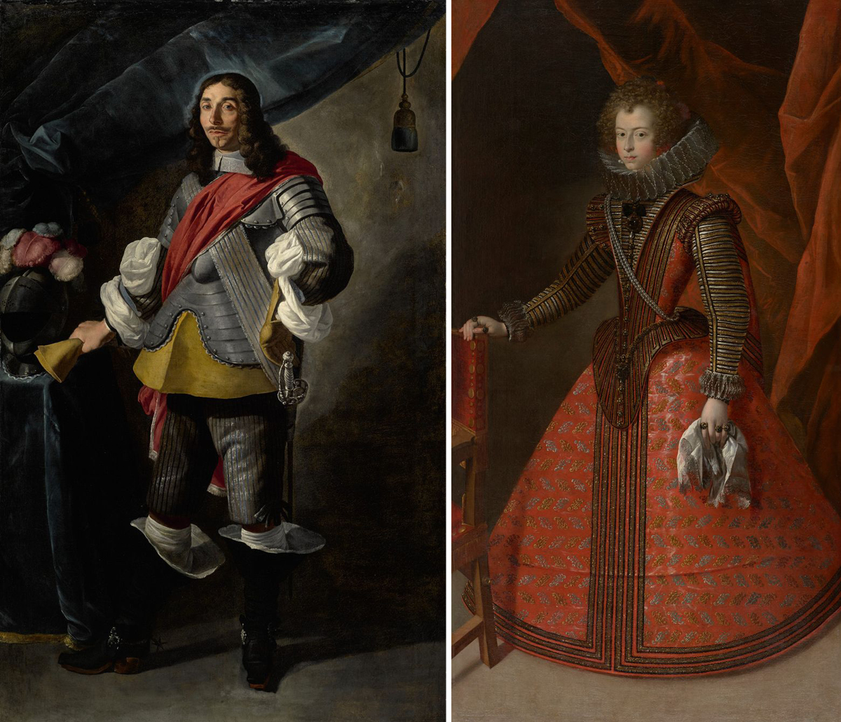 [Image description: 1. Portrait of Baron Ignazio de Pizzis, Carlo Ceresa, approximately 85 x 46 inches, oil on canvas. A full-length portrait of a light skinned man wearing partial armor standing with one hand on his left hip while his other hand holds a glove and rests on a table to his right. His dark curled hair is worn long and falls past his shoulder. He has a mustache and goatee and looks directly at the viewer. He wears armor on his torso and upper arms under a wide red sash that crosses his body from shoulder to waist. His silver velvet sleeves are slashed to reveal the voluminous white shirting beneath. He wears on tan glove on his left hand while holding the other in his right. A tunic of the same color is visible below the bottom edge of the armor. He wears silver velvet breeches with high black boots that flair out widely at the top. They are adorned with silver ornaments at his ankles. The man stands next to a blue draped table that holds a full-face armored helmet topped with feathers in red, white and gray. Behind the figure, navy blue fabric drapes across the left side of the portrait in front of a putty colored background.] [Image description: 2. Portrait of Infanta Maria Ana de Austria, 82 5/8 x 46 ½ inches, oil on canvas. A full-length portrait of a young woman in an elaborate, rust red, court dress. The figure stands in a three-quarter view with her right hand on the back of a partially seen wooden and red fabric chair. Her left hand is at her side holding a lace edged handkerchief and she wears three gold rings. The woman has light skin, her face is framed by light brown curls, she looks to the viewer directly with large dark eyes, and has a small, pursed mouth. She wears pearl earrings seen above a deep white lace ruff: stiffened lace arranged in deep, regular folds worn around the neck. The bodice of the dress is encrusted with gold braiding alternating with black and silver stripes. Gold and pearl buttons line the front deep V shaped bodice e