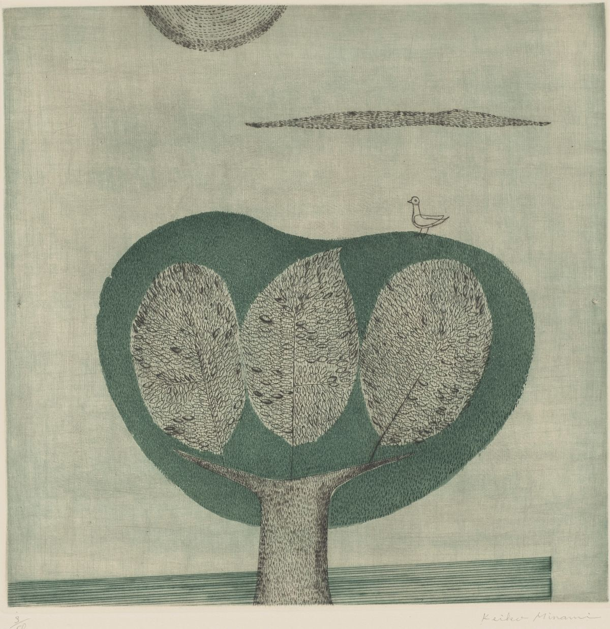 [Image description: Arbre (Tree), Minami Keiko, 11 7/16 x 11 7/16 inches, color etching and aquatint on paper. A square print depicting a highly stylized landscape featuring a large tree, a cloud, and a partial sun. The large tree begins at center bottom, its thick trunk rising and splitting into a wide V shape. The black bark is depicted as short vertical dashes grouped and layered at the trunk's sides to convey depth. In the space left by the V-shaped branches are three oversized leaves placed side by side. The one in the middle has a pointed top while the other two have rounded tops. They are larger than the tree's trunk and are composed of a multitude of smaller etched leaves over vertical dashes. Enveloping the large leaves and the upper branches is a muted green shape resembling a circle with the top edge depressed into itself. The circle contains more vertical black dashes. A line drawing of a bird is perched on the top right of the green shape. Above, a thin cloud composed of horizontal dashes appears. Just off center at upper left, a half circle resembling a partial sun is composed of concentric dashes. The background is a pale gray and resembles woven fabric.]
