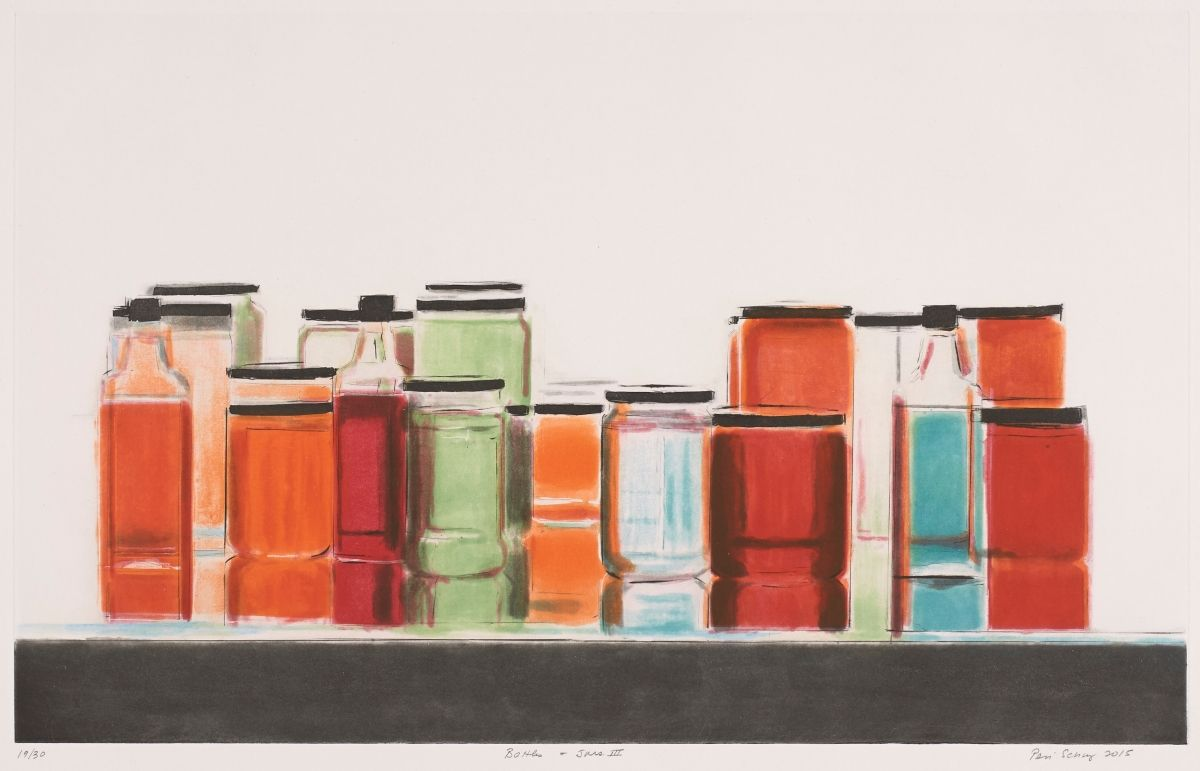"""[Image description: Bottle and Jars, Peri Schwartz, sheet: 22 x 30 1/8 inches, color spit bite etching on paper. A landscape-oriented work depicting a grouping of over a dozen bottles and jars seen lined up on a shelf or ledge against a cream background. Jars of various heights are filled with different colored contents ranging from rust, terracotta, pale green, slate blue, burgundy and clear. There are at least three bottles interspersed among the jars. Two are at the left end of the row and contain rust and burgundy contents. A slate blue filled bottle features at the right of the display. The lids and caps on the vessels are depicted as flat black lines or black squares. The bottles and jars sit on a shelf or ledge that reflects their shapes and colors making them appear taller and elongated. The fore edge of the shelf is highlighted with the rectangular front facing part depicted as a long horizontal rectangle in deep gray. Just below this starting at far left is the handwritten series number """"19/30"""", at center is the work's title """"Bottles and Jars III"""" and at far right the artist's signature and year, """"Peri Schwartz 2015"""".]"""