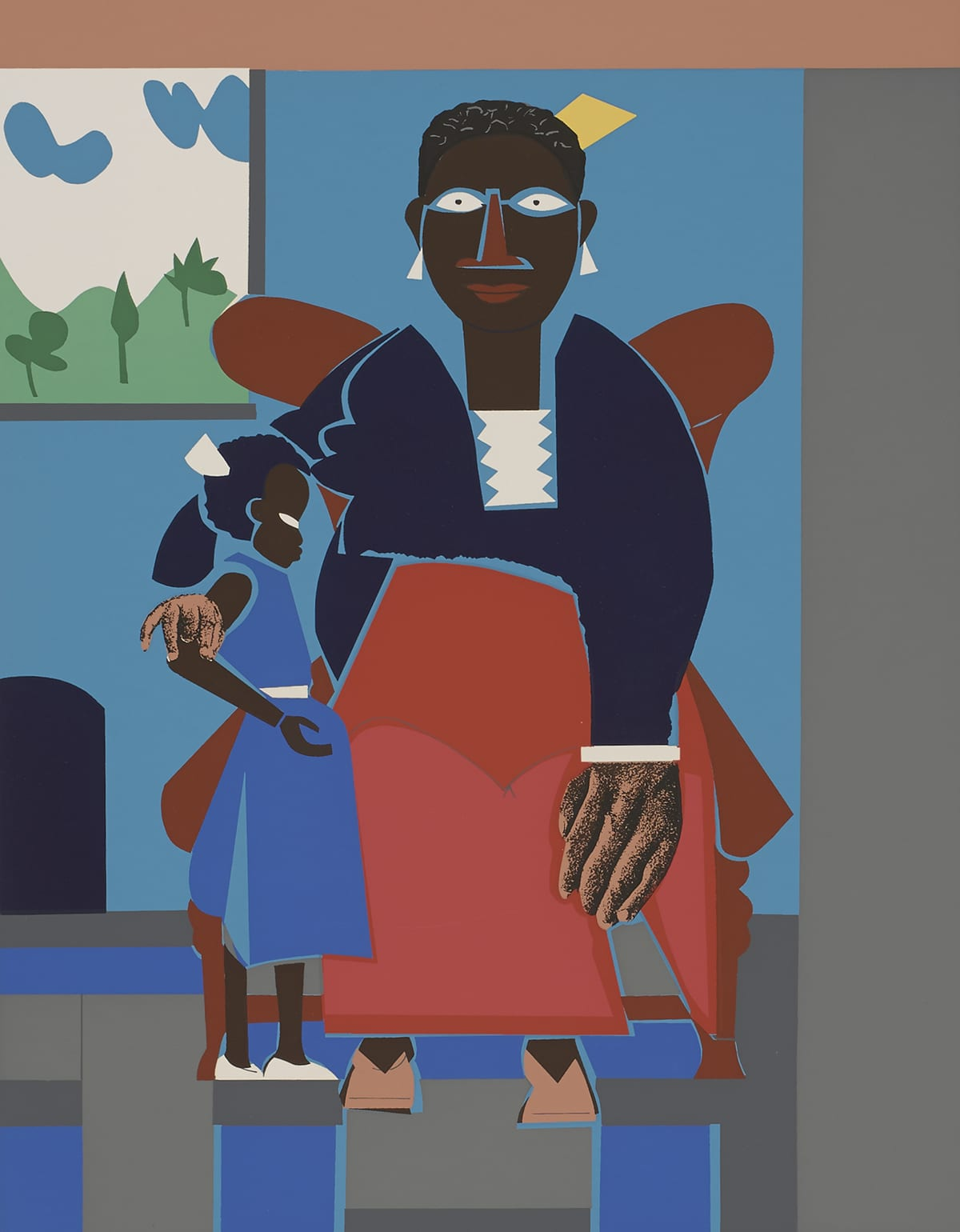 [Image Description: Family (Mother and Child). Romare Bearden.. 1980. Color screenprint on cream wove paper. 18in H x 14 in W. A Black mother sits on a brown chair with her right arm around her child who is wearing a blue dress and white shoes. The mother has short curly black hair with brown highlights and a yellow square coming out the back, white triangular earrings, a reddish brown nose and lips, a dark blue long sleeve dress with light blue outlines with a white shirt underneath, a reddish orange apron, and light brown shoes. Her eyes and nose are outlined with blue lines and her hands are large and appear more dimensional than the other parts of her body. Her left hand rests on her knee and her right hand is held with thumb and third finger touching while resting on the child's elbow. The child has short dark curly hair with a white triangle coming out the back and white eyes. She stands with her left side resting on her mother's apron looking towards the right side of the print. Her arm bent at the elbow, palm open and facing up. A bright blue wall is behind the chair with a painting with green hills, trees, white sky, and blue clouds with a light gray frame. There is a dark blue shape under the painting that resembles an arched entryway. The chair is sitting on a floor consisting of light gray, dark gray, and blue rectangles - some vertical and some horizontal. The angles are such that it creates somewhat of an optical illusion.]