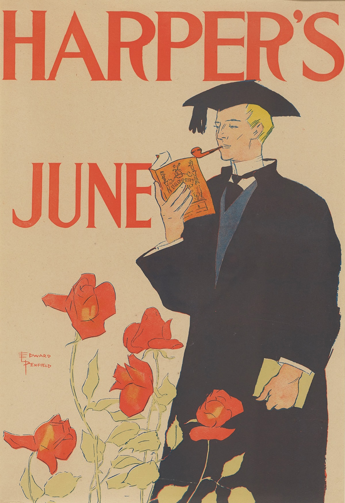 """Image description: Harper's June 1895, Edward Penfield, color lithograph, 18 ¾ x 12 13/16 inches. A portrait-oriented poster showing a male figure dressed in a black graduation cap and gown, holding a book while smoking a pipe under the tomato red words: """"Harper's June"""". """"Harper's"""" is stretched across the top of the print and the word """"June"""" sits under it to the left on the pale tan background. The figure is shown from the knee up at right. He is turned to the left, has peach-colored skin and yellow, short hair under his mortar board. He smokes a small brown pipe and holds up an orange book as if reading. A white shirt, black tie and blue vest are seen under the robe. He holds a tan rectangular object in his left hand by his side. The lower left holds five large rose blossoms on long, pale green stems with leaves. One flower overlaps the figure's black gown. The artist's signature appears in orange at left of the roses."""