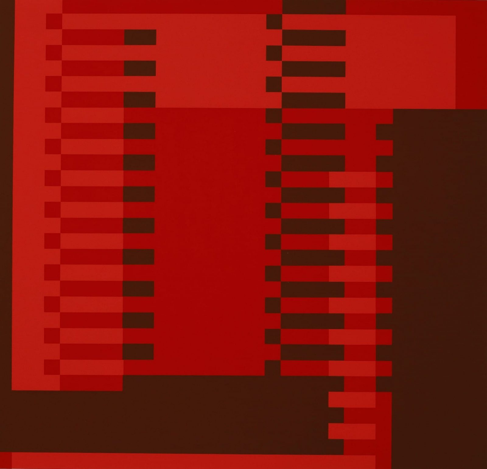 2. This print displays color blocking in shades of red, deep red and oxblood. The deep oxblood color is used along both the right and left edges; at left a narrow strip runs vertically and a strip about six times wider borders the right edge. Large blocks of the lighter reds overlap filling in the print. Two columns of horizontal rectangles and squares run in a track like pattern from top to bottom. Alternating shades of red create further geometric patterns.