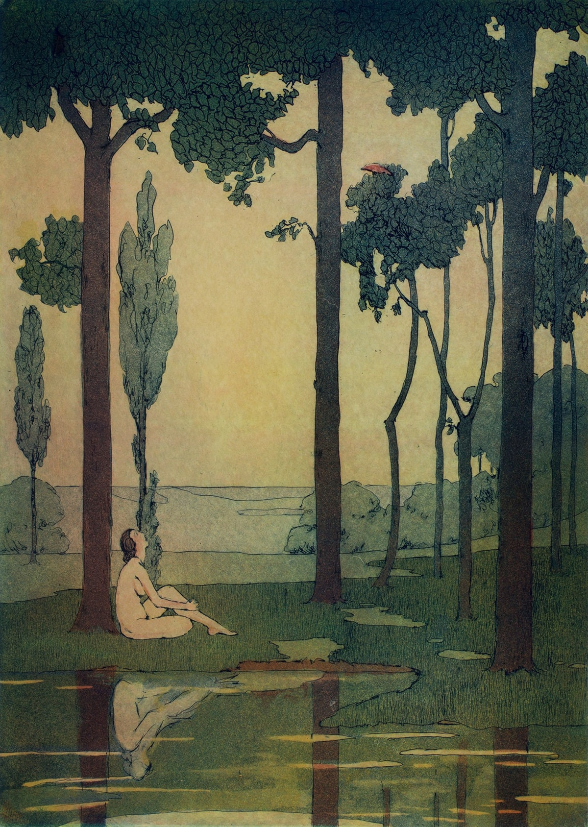Image description: Beatrice S. Levy, Song of Summer, 1914, color etching,14 x 10 inches. Vertical rectangular color print in languid hues of greens and yellows. A pale, nude, female seated figure on a grassy bank gazes up into a canopy of dark green foliage at a small, perched red bird. The figure sits with her back against a dark tree trunk, one of three, with much smaller trees in the background. Her reflection is mirrored in a green-yellow body of water at the foreground of the scene. In the distant background there are clusters of trees rendered in a pale blue green with a pale clear sky contrasting the darker subjects in the foreground.
