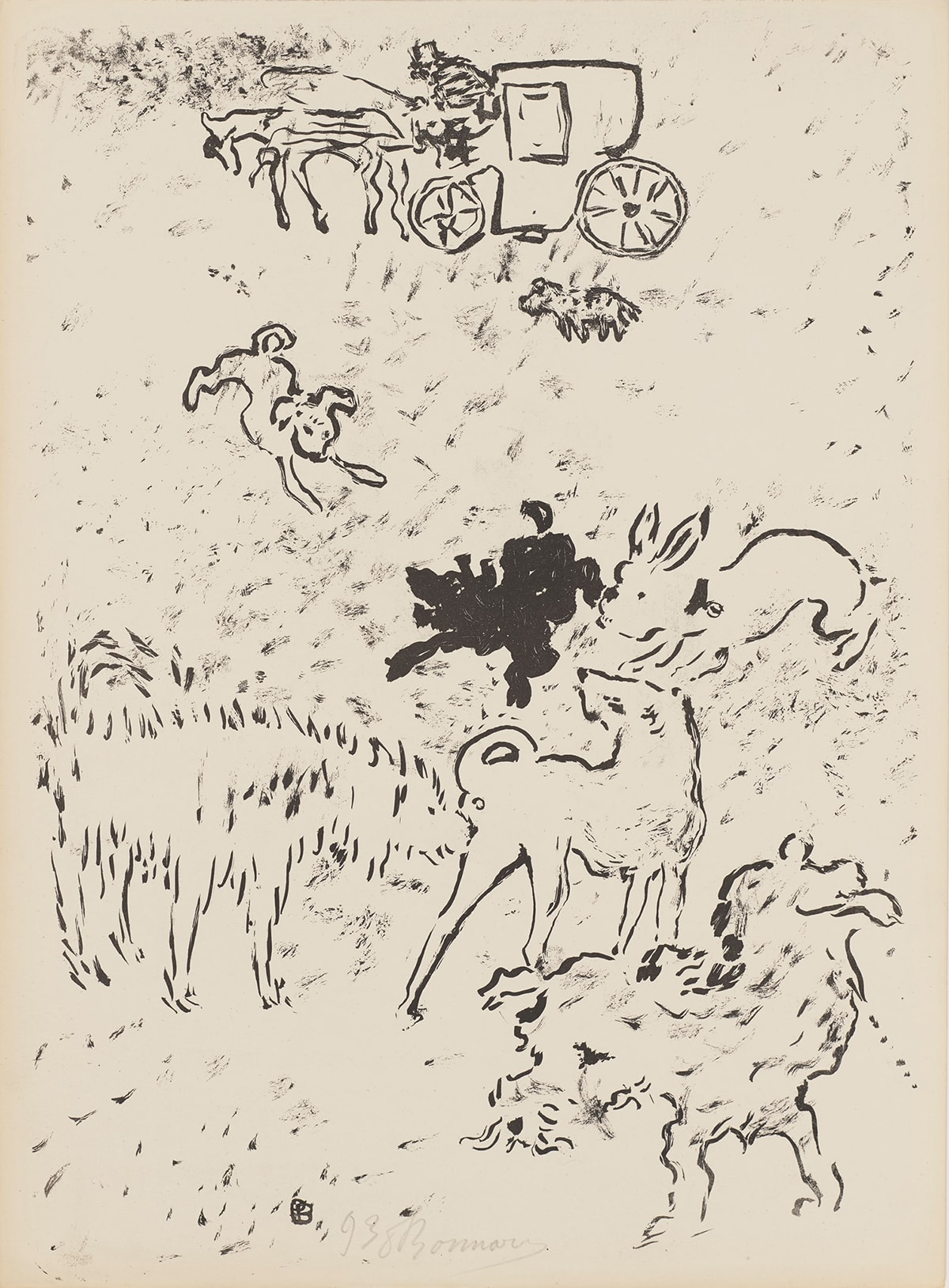 """Image description: Dogs, Pierre Bonnard, lithograph on paper, image: 14 5/8 in x 10 1/4 in; sheet: 14 7/8 x 10 15/16 inches. A portrait-oriented work featuring seven dogs engaged in different canine social activities and a horse and carriage in the distance. The bottom half of the scene contains five of the dogs, each breed and type depicted in black outline. At lower right, a scruffy coated dog with a beard lifts a hind leg and urinates. Above, a large dog with a shaggy coat rendered with short vertical black strokes inspects the back end of another large smoother coated dog with a pointed snout. At center, a small black dog crouches and looks left next to a white outlined dog that resembles a rabbit with its long ears flying back and its back rounded as if in the act of pouncing. In the upper half of the print, a small white dog at left, gives a play bow to the small black dog. Its rump is raised with his head is low with front paws spread wide. At top center, a horse and closed carriage with a driver are seen at a distance. A small spotted dog walks next to the carriage and mimics the hunched, posture of both the horse and the top hatted driver. The background is flecked and dappled with black marks and smudges giving texture. At bottom center is the artist's signature in pencil. Above it at left, is a """"P"""" overlapping a """"B"""" in black."""