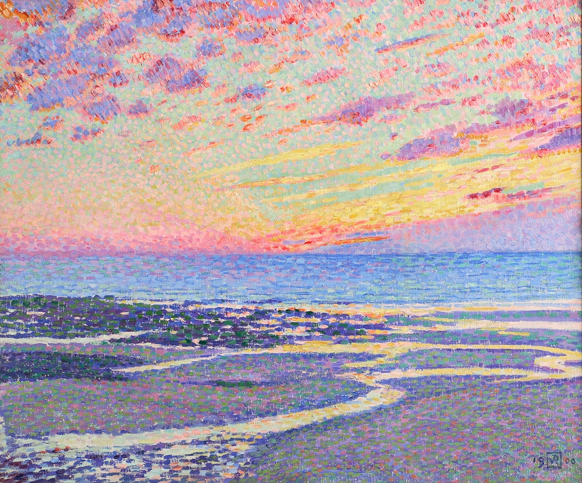 """""""Plage à marée basse à Ambleteuse, le soir (Beach At Low Tide, Ambleteuse, Evening)"""". Théo Van Rysselberghe. 1900. Oil on Canvas. 21 ½"""" x 24 ¾"""". Series of bright vividly colored dots fill the canvas depicting the sunset, ocean, and beach. The bottom third of the canvas has a base layer of blue and green dots with purple, pink, yellow, and white drops on top. Estuaries run from the bank, curving through the sand, and into the sea. They are made up of light yellow and orange dots, reflecting the sunset. Near the middle of the painting darker sand depicted by dark green, blue, and brown dots runs along the edge of the ocean which is composed of longer ovals of green, blue, yellow, and pink brushstrokes. Light blue sky covers the top of the canvas with yellow, pink, and red rays extending to the right. Above, red, purple, and orange clouds dot the sky. Long linear clouds on the right and small oval clouds on the left. The painting is framed in a gold frame with highly detailed filigree loosely resembling vines, leaves, and flowers."""