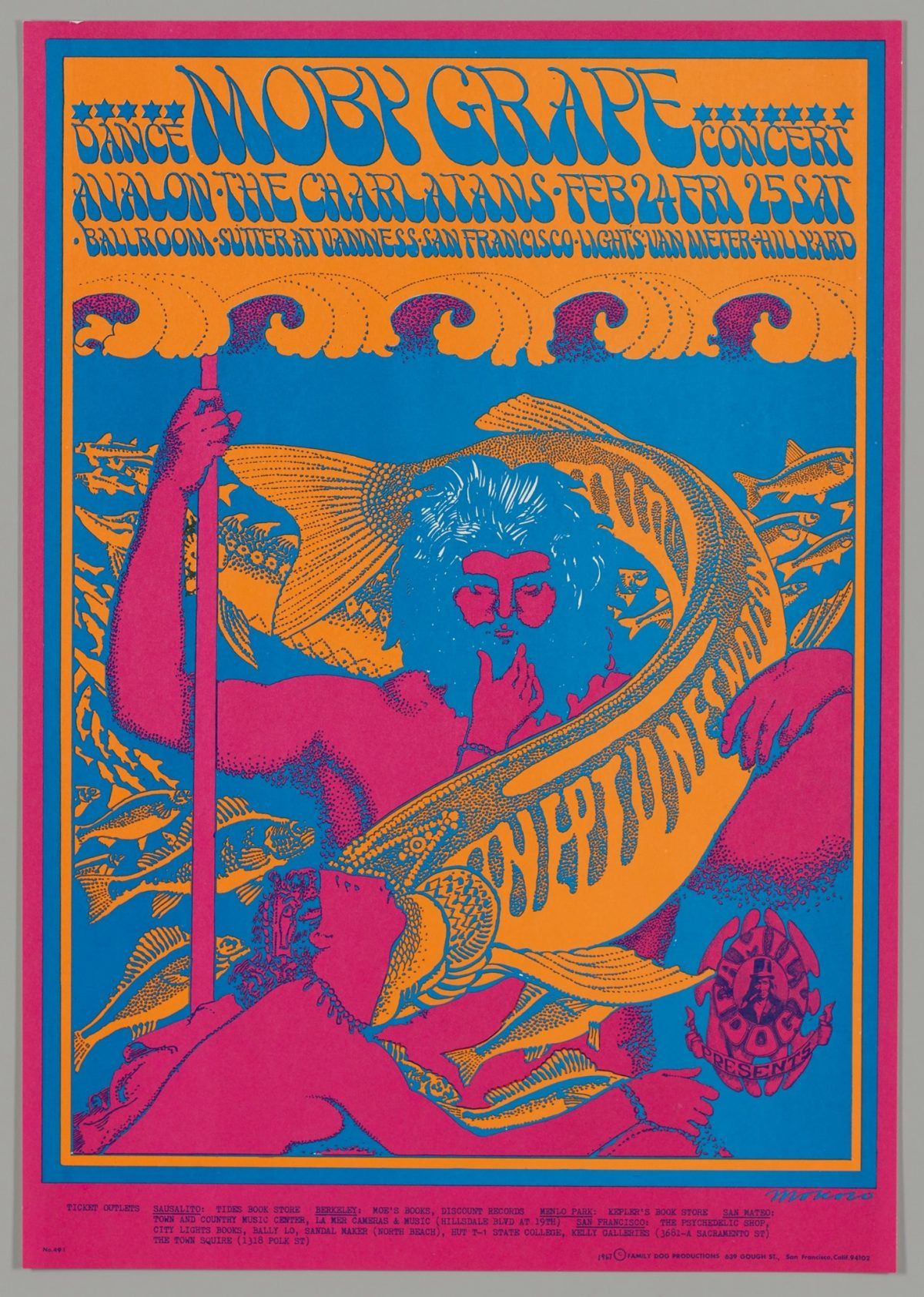 """Neptune's Notion, Victor Moscoso, 1967, color offset lithograph on paper, image/sheet:22 x 14 inches. A brightly colored, vertical poster depicting Neptune being encircled by a large fish and topped with concert details in organic, psychedelic font. Bright blue letters against a pale orange ground read: """"Moby Grape"""" at center top, flanked by the words """"Dance Concert"""" under a row of blue stars. Below, two lines of text read: """"Avalon, The Charlatans, Feb 24 Fri, 25 Sat. Ballroom, Sutter at Van Ness San Francisco, Light Van Meter, Hillyard."""" A row of stylized purple waves on orange ground transitions to bright blue ground. Neptune is centered with a full head of hair and beard, details of his hair picked out in white line. Neptune's body is bright pink, and he holds a trident on the left and stretches out his other hand by his side. An orange and blue fish wraps around Neptune's head and torso with the words, """"Neptune's Notions"""" on its body. A female figure approaches Neptune from bottom right near the fish's mouth. Smaller orange fish on blue swim in the background. A small, oval logo reading """"Family Dog Presents"""" with a top hatted man is at lower right. The scene is outlined in orange, blue and bright pink borders. Additional ticket information is printed at bottom in small, plain black font."""