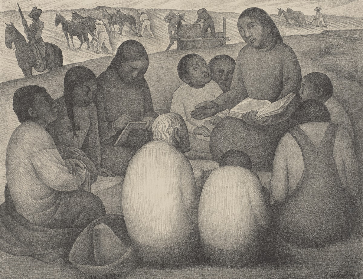 Image description: Diego Rivera, La Escuela de Aire Libre (Open Air School), 12 1/2 x 16 5/16 inches; sheet: 15 3/4 x 22 3/4 inches, lithograph on cream wove paper. A landscape print rendered in shades of gray depicts a group of students, both young and old, gathered around a teacher who holds a book open on her lap. The teacher sits at left, slightly elevated above her students who gather in a circle around her. She had dark center parted hair that lays flat to her head, large eyes with a broad straight nose and full lips. She wears a simple high-necked, long-sleeved garment and holds up her right hand, palm out. Two younger students huddle near her to the left and have short, cropped hair and dark skin. Three more students are positioned at left. One is shown in profile wearing a long full sleeved shirt, cropped dark hair and has a garment or wrap gathered around him as he sits on the ground. Next to him to the right are two students, one in long braids and one in the act of writing in a book. The figures' facial features all resemble those of their instructor. In the foreground, three students sit with their backs to the viewer. At center is a white-haired man sits hunched next to a small student and another in overalls. In the background there are two teams of horses and their drivers working the fields. At far left a guard on horseback with a rifle stands watch. At center, crops are gathered by two figures at a large rectangular container. At far right is another horse team with driver working the land. The print as a hand drawn quality, with the look of a detailed pencil sketch.