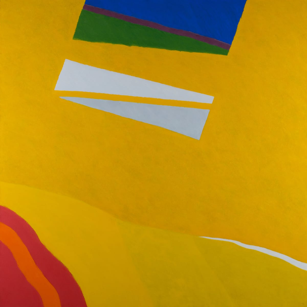 Consanguineous, Frank Okada, oil on canvas, 72 x 72 inches. A square abstract painting featuring bold colors on a largely deep yellow ground. The lower left corner holds an arc of undulating stripes that dip slightly in their center. The stripes alternate from vivid red to orange then back to red again. A rectangular shape composed of trapezoidal shapes and stripes juts downward into the center space from the top center. The rectangle sits at an angle slanted to the left. It begins with a brilliant blue at the middle top of the painting followed by a thin stripe of deep red, then a dark olive-green trapezoid. A golden yellow that matches the background color follows, forming another trapezoid. It is followed by a cream trapezoid separated by narrow golden yellow stripe from a pale gray trapezoid shape. The textured golden yellow ground is bisected horizontally two thirds of the way down from the top. The upper portion of the painting is the largest segment with the bottom third containing the red and orange arc and three more golden yellow segments. The segments differ slightly in hue. The lightest is at left next to the red/orange arc. The remaining two segments continue to the right with a thin, sharp uneven streak of cream interrupting the yellow ground from the lower right edge. Brushstrokes are clearly visible with the edges of the shapes being slightly ragged and uneven.