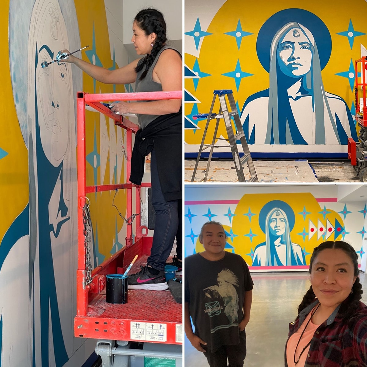 Image descriptions, clockwise from left: 1. A collage of three photos showing the artist Lynette Haozous and her assistant, Andrew Benally working on a mural. The first photo takes up the space on the left and features Haozous standing on a motorized lift painting the eye of a partially painted figure on the museum wall. Haozous stands on the red lift facing left, her right hand holding a brush touching the wall. Haozous is a Native American woman with dark hair swept back into two braids. She wears a gray sleeveless top and jeans with a dark shirt tied around her waist and black sneakers. A pot of blue paint sits at her feet. The mural taking shape on the wall portrays the head and shoulders of a larger-than-life figure with long hair in blue and gray. The figure is set against a bright yellow background with a halo-like shape around the head. Light blue four, pointed stars with white circle in their centers surround the figure. Two more photos are stacked on the right. 2. The top features the mural in progress with a table, ladder, and motorized lift in front of it. The mural's central figure is the head and shoulders of a figure with long straight hair rendered in blues and grays. The figure gazes directly ahead, with facial features and clothing rendered in light blues on white. A darker blue halo is around the head within a much larger bright yellow organic cloud-like shape. Layered over this are light blue four-pointed stars in rows on either side of the figure. To the left of the figure, four dark blue, pyramid shaped triangles outlined in white are stacked on top of one another. The top and bottom triangles have large white dots in their centers and the middle two have red dots. To the right of the figure are four more pyramid shaped triangles, this time with red center dots and standing on their sides. The floor beneath the mural is covered with drop cloths. 3. The final photo at bottom right shows the artist and her assistant in the foreground with the com